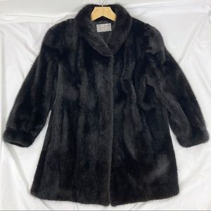 Vintage fur swing coat black mink midi length